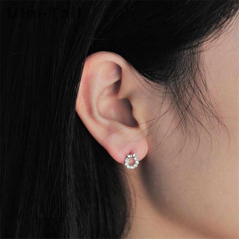 Uini-tail hot nouveau 925 en argent sterling mode coréenne simple mignon arc rond micro-ensemble boucles d'oreilles haute qualité tendance bijoux GN625