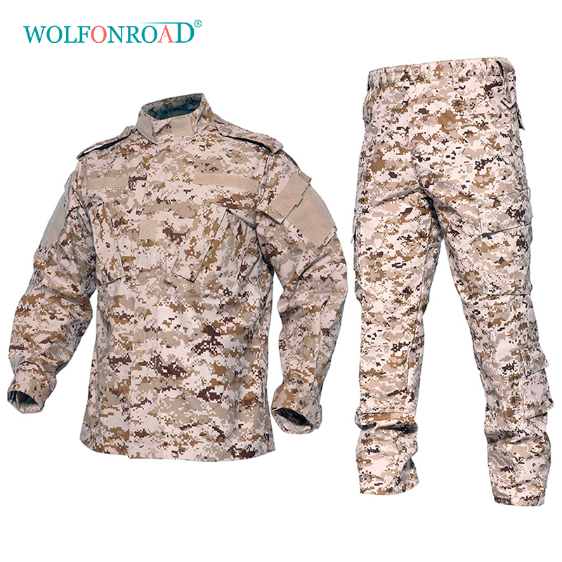 WOLFONROAD Desert Jungle Outdoor Camouflage Uniform Tactical Military Uniform Combat Hunting Suit BDU Training Jacket and