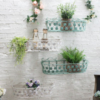 Sets two Vintage iron wall storage rack bar wall decoration wall coverings creative flower stand