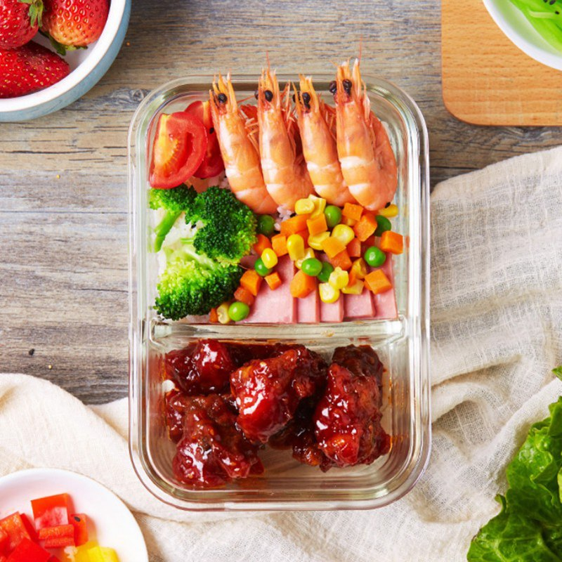 Lunchbox Glass Food Container Bento Microwave Lunchbox Dinnerware <font><b>Sets</b></font> Office Outdoor Picnic Food Storage Portable Tableware