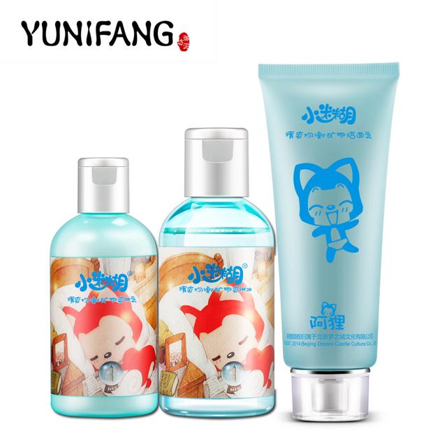 Yunifang Oil Control fresca triplo Set ( limpeza + Toner + creme ) hidratante de controle de óleo anti cravos minimizar poros limpeza