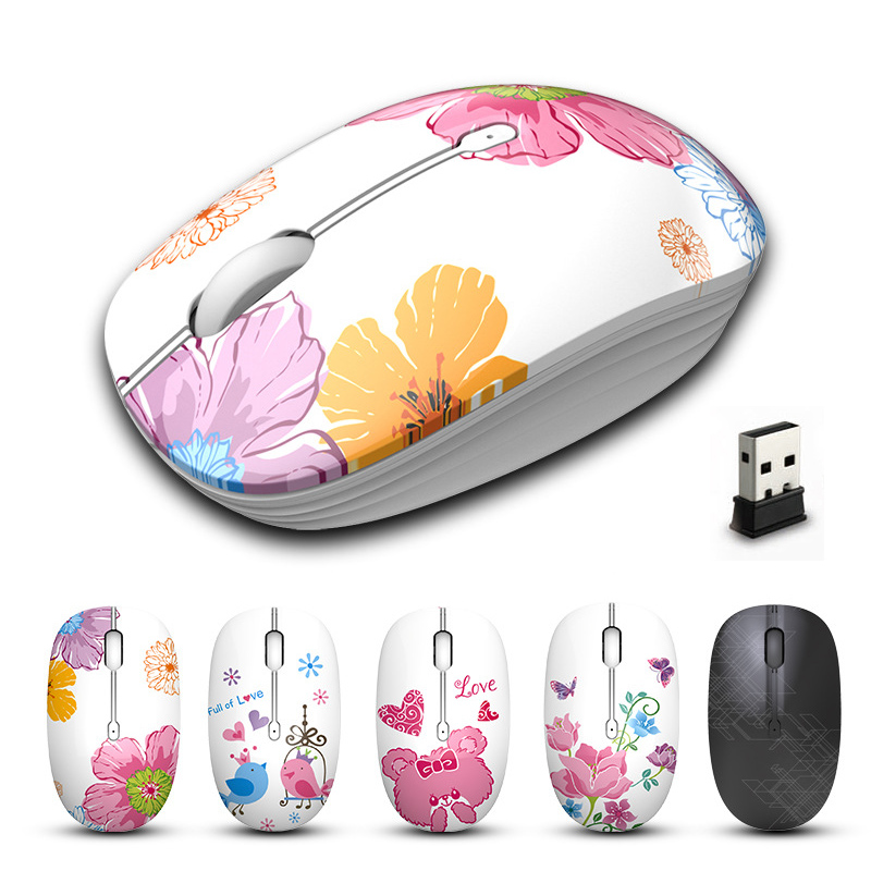 2.4G USB Wireless Silent Mouse 1600DPI Cute Pink Gaming Mouse For Macbook Lenovo ASUS DELL HP Laptop PC Mice Girls Women Home