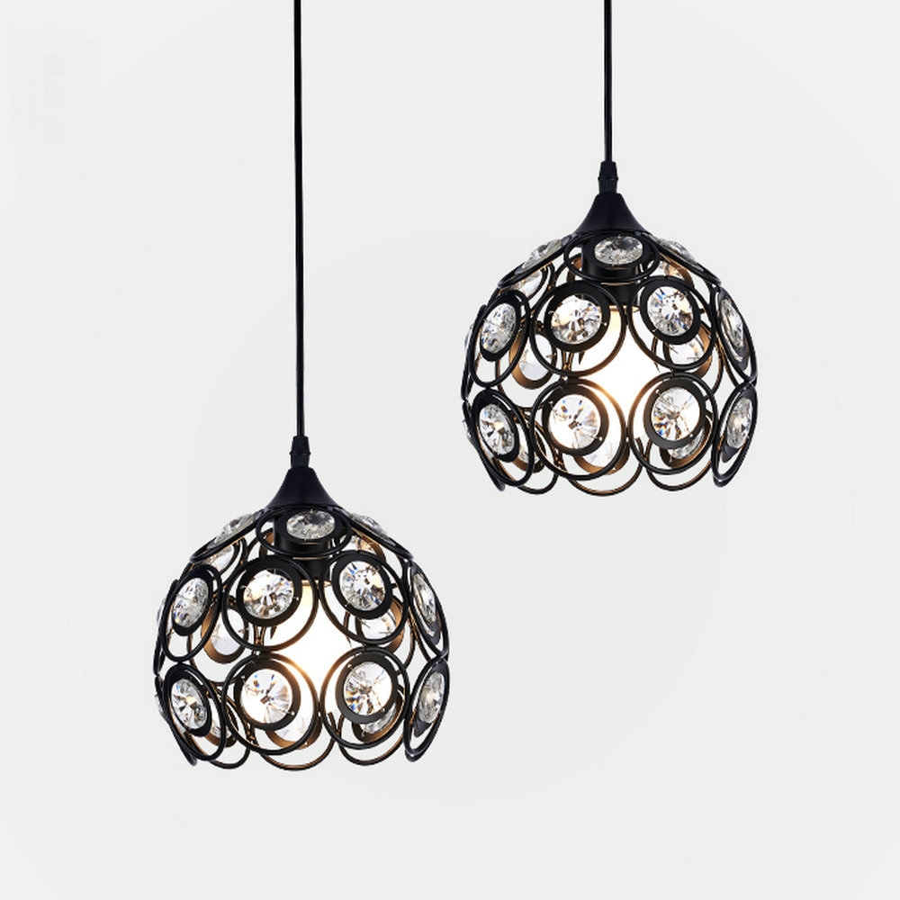 Modern Crystal Iron Pendant Lights Fixtures Nordic LED Hanglamp Black Lamp E27 220v 110v for Decor Kitchen Bedroom Home LightingModern Crystal Iron Pendant Lights Fixtures Nordic LED Hanglamp Black Lamp E27 220v 110v for Decor Kitchen Bedroom Home Lighting