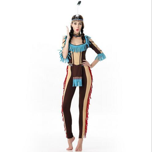 free shipping Women Cosplay Ladies Fancy Dress Costumes Wild West Indian costume halloween party costume for women top+pant