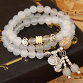 Cool Summer Fashion Jewelry Chic White Opal Beads Elegant Handmade Beaded Multilayer Charm Bracelets for Women Wholesale