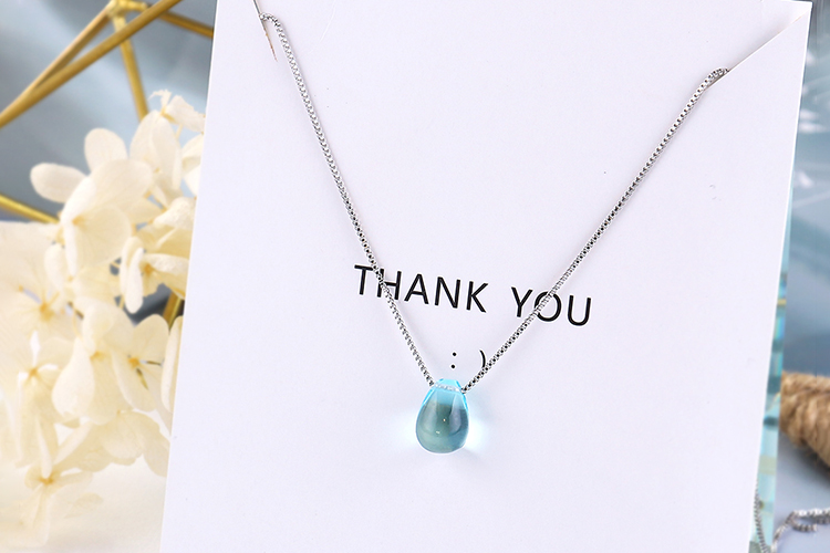 Anenjery Literary Artificial Blue Crystal Water Drop Necklace 925 Sterling Silver Clavicle Chain Necklace For Women Girl S-N292 15