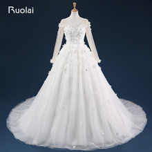 Elegant Long Wedding Dresses Ball Gown V Neck Long Sleeves Handmade Flowers Beaded Bodice Bridal Gown For Wedding ASAFN25