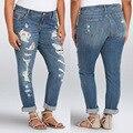 Agujero Vaqueros de las mujeres 2017 de La Moda de Primavera de Mediados de Cintura Ocasional Floja pantalones Lápiz Pantalones Vaqueros Mujer XL-4XL 5XL 6XL Más Grande tamaño