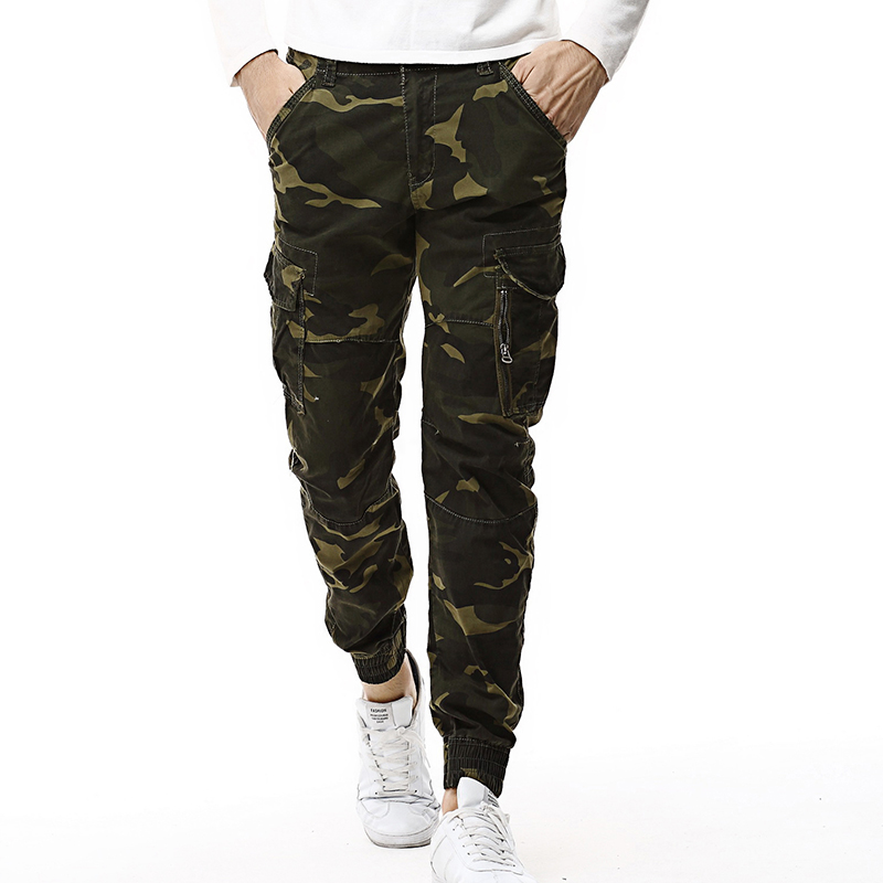 2019 Mens Pants Elastic Foot Close Skinny Pants Tactical Military Men Cargo Pants Multi-pocket Overalls Camo Trousers For Man 38