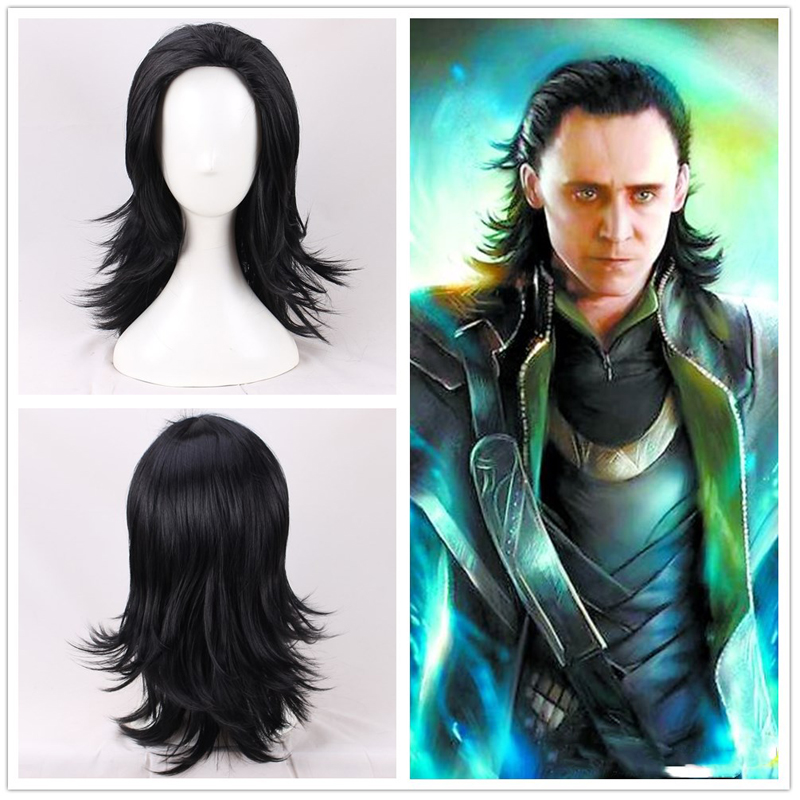 Advengers Loki cosplay wig Loki Black Synthetic Hair Comic Loptr role play costume party wigs + wig cap