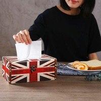 Scatola Del Tessuto di legno Multifunzionale Americano/British Flag Scatole Contenitore di Tovagliolo di Carta Fazzoletto di Cassa Del Supporto per Hotel Home Auto