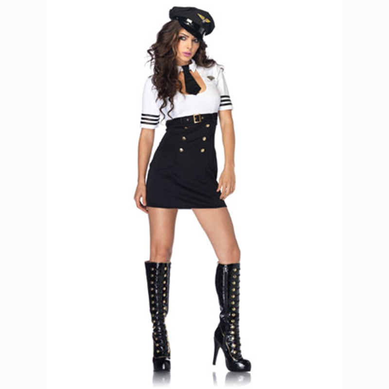 Adultes Women Police Dress With Belt Cop Costume Cosplay Policewomen Costumes Halloween Cosplay High Wasit Dress Sexy Uniform