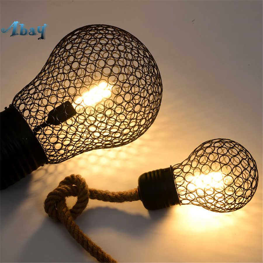 Американский винтажный пеньковый канаканаканаканаканаканаканат подвесной светильник s форма лампы для кафе-бара, столовой светильник, светильники, промышленное украшение, подвесной светильник