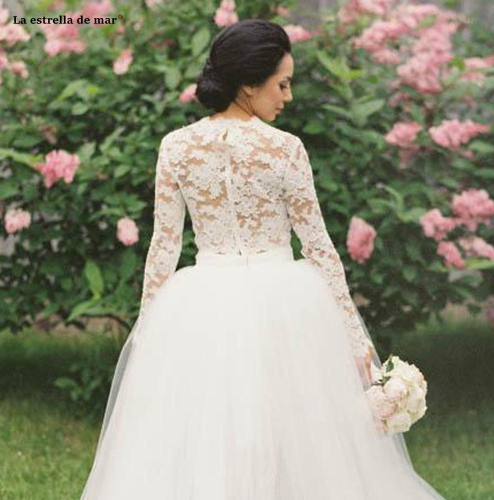 Hochzeitskleid new lace long sleeve 2 pieces ivory High Low boho wedding dress long bestidos de novia beautiful brautkleid in Wedding Dresses from Weddings Events