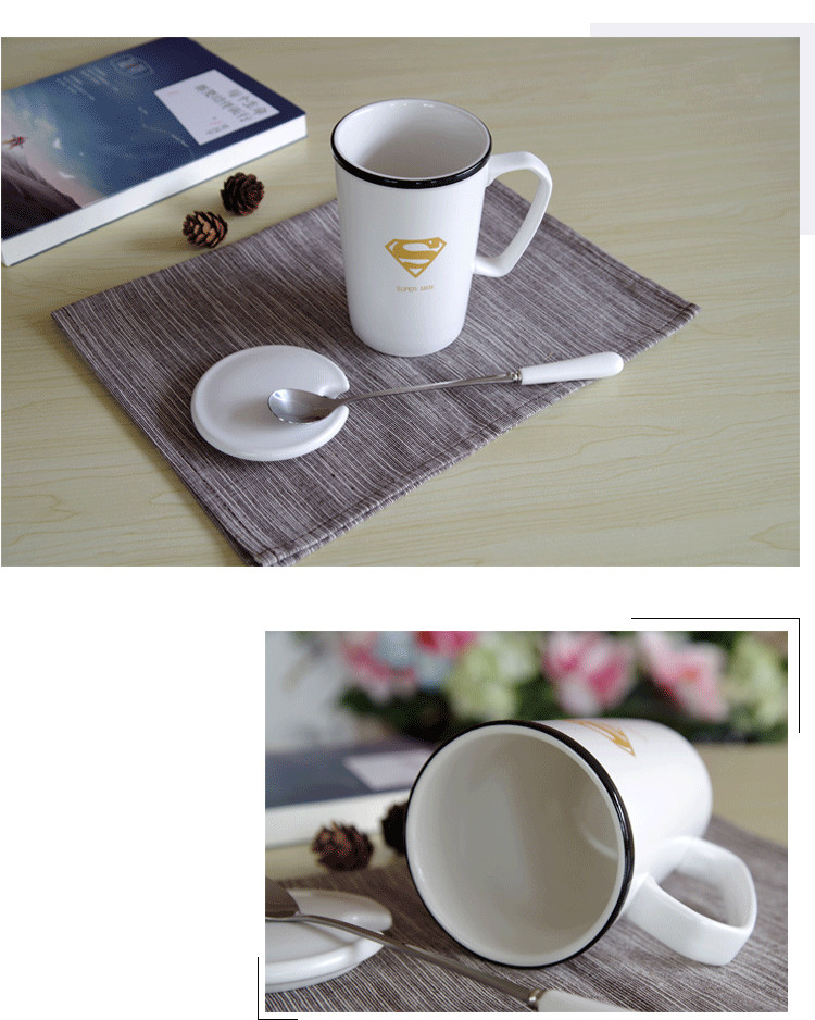 OUSSIRRO Avengers League Kreative Milch Kaffee Wasser Becher Mit Deckel Löffel Superman Spiderman Batman Becher Hohe Qualität Keramik Tasse