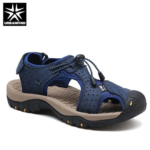 a4818df261ffb Men Sandals Genuine Leather Male Summer Beach Slippers Rome Style Man  Breathable Casual Slip-on