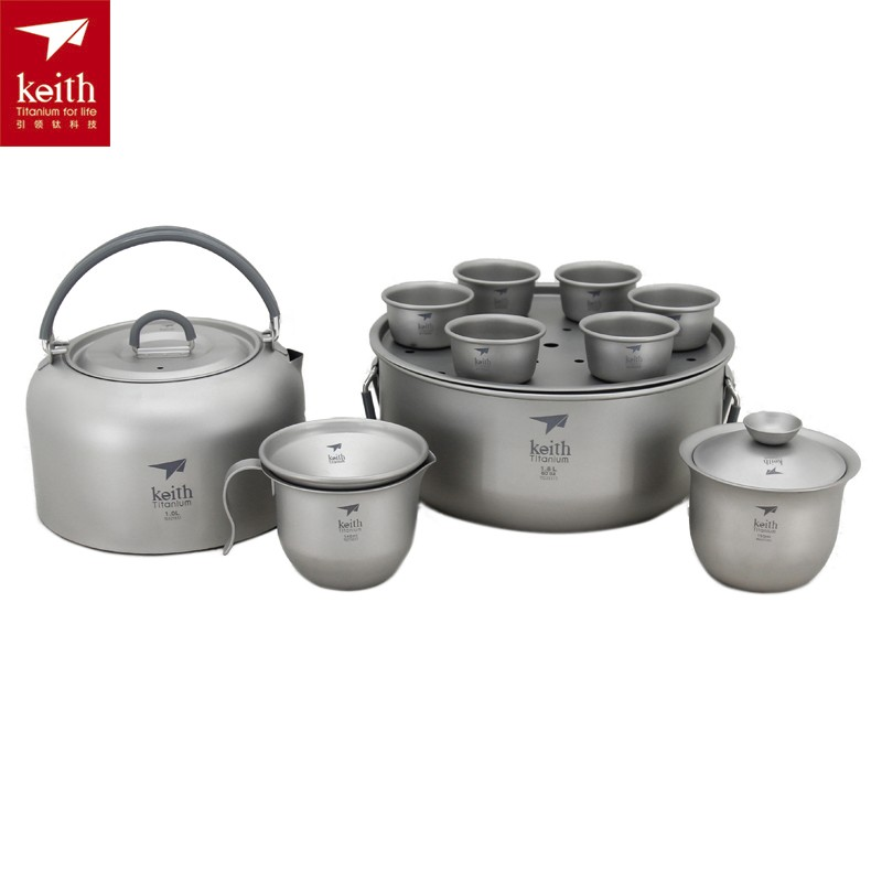 Keith Titanium Kung Fu Tea Set Utralight Camping Kettle Portable Camping Teapot Outdoor Cup