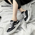 2016 Women New Casual Walking shoes Breathable Net cloth Leather Flat Thick base Hot sale Calzado deportivo femenin size 35-40