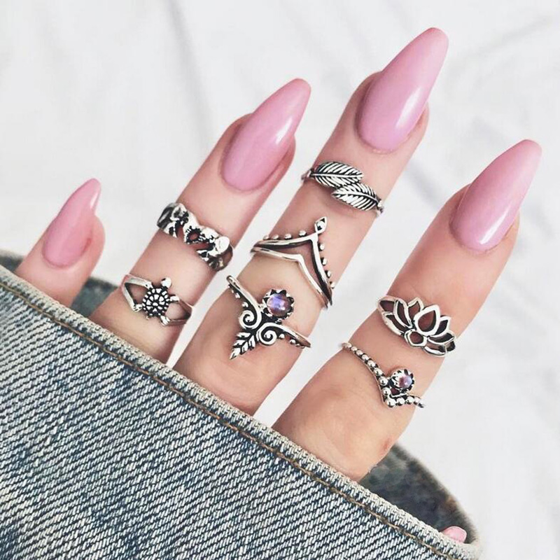 7 pcs/set Leaf Midi Finger Ring Sets Antique Silver Color Turtle Elephant Hollow Flower Knuckle Rings For Women Crystal Jewelry