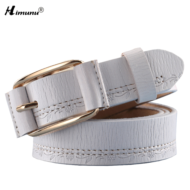 Himunu Novelty Jeans Genuine Leather Belt for Women Pin Buckle Cowhide Leather  Female Belts Woman Thread Patchwork Decoration
