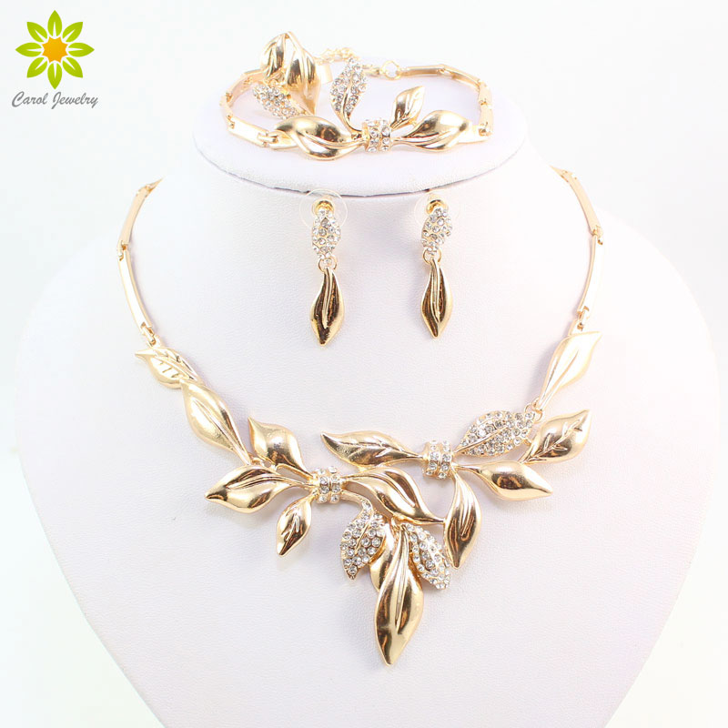 Einzigartiges Design Afrikanische Mode Kostüm Strass Blätter Shap Halskette Sets Gold Farbe Brautmodeschmuck Sets Direktverkaufspreis Schmuck & Zubehör