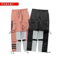 Cargo Pants Men Oversize Elastic Waist Hip Hop Streetwear Ankle Drawstring Striped Multi pocket Casual Joggers Male Pants