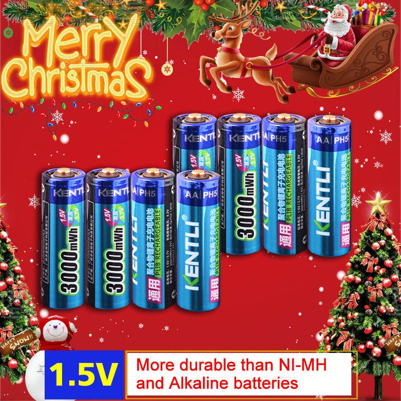 KENTLI 8 шт. стабильное напряжение 3000mWh AA батареи 1,5 В в аккумуляторная батарея aa литий-полимерный аккумулятор для камеры ect