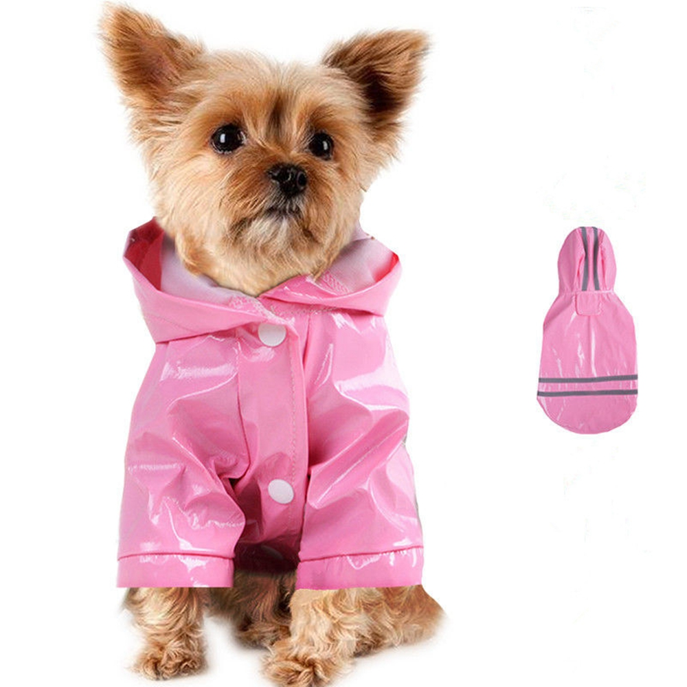 Abile Pet Dog Cappotto Di Pioggia Di Colore Rosa Con Il Tasto Giacca Con Cappuccio Impermeabile Riflettente Dell'unitÀ Di Elaborazione Impermeabile Per Cani Di Piccola Taglia Pt0735-0738