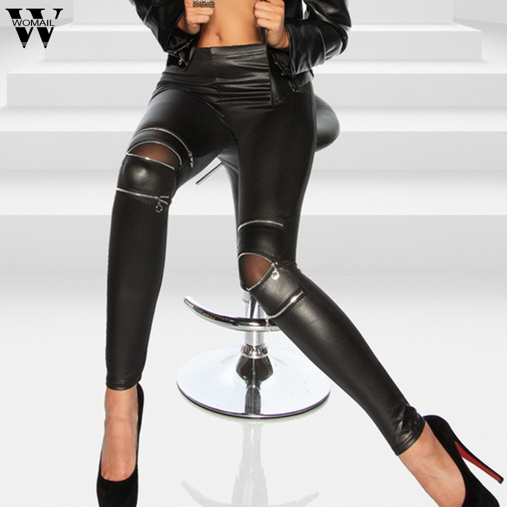 Womail Pants Women's Leather Long Pants High Waisted Leather Trousers Zippers Leggings Skinny Stretch Pencil Winter M2