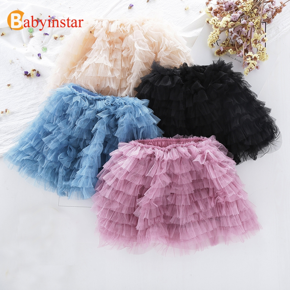 Babyinstar 2018 New Summer Girls Skirt with Peals Ruffles Children's Bottoms Cute Kids Tutu Skirts Girls Princess Skirts