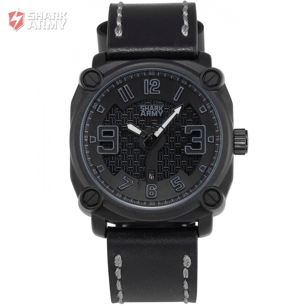 ФОТО SHARK ARMY Top Brand Steel Grey Black Electroplate Square Dial Leather Sports relogio masculino Men Outdoor Quartz Watch /SAW227