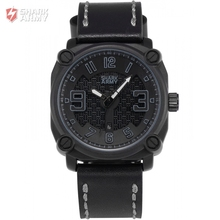 SHARK ARMY Top Brand Steel Grey Black Electroplate Square Dial Leather Sports relogio masculino Men Outdoor