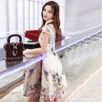 Champagne Traditional Chinese Dress Qipao Ladies Evening Dresses Vintage Cheongsam Women Bride Short Lace Cheongsam Modern Dress
