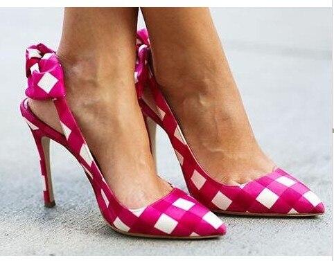 Sestito 2018 Lady Sweet Butterfly-knot Embellished Slingback Shoes Woman Pointed Toe Grid Slip-on High Heels Dress Wedding Pumps недорго, оригинальная цена
