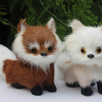 New Simulation Animal Fox Model Plush Genuine Leather Toy Plush Doll Toy For Kids Children Birthday Gift
