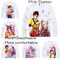 2015 Men's Unique Anime T-shirt 3d Print No Game No Life NGNL Sora Shiro Long Sleeve Casual Cosplay T Shirt Camisetas Masculina