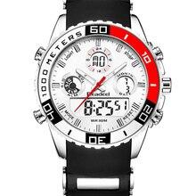 ผู้ชายกีฬานาฬิกากันน้ำทหารนาฬิกาควอตซ์ดิจิตอลนาฬิกาปลุกนาฬิกาจับเวลา Dual Time โซนยี่ห้อใหม่ relogios masculinos