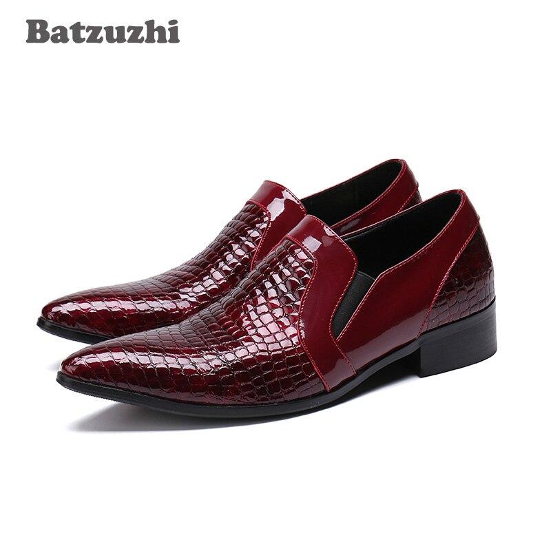 LUXURY Handmade Mens Shoes Top Quality Wine Red Genuine Leather Business Shoes Men Zapatos Hombre Wedding Shoes Men, Big EU46
