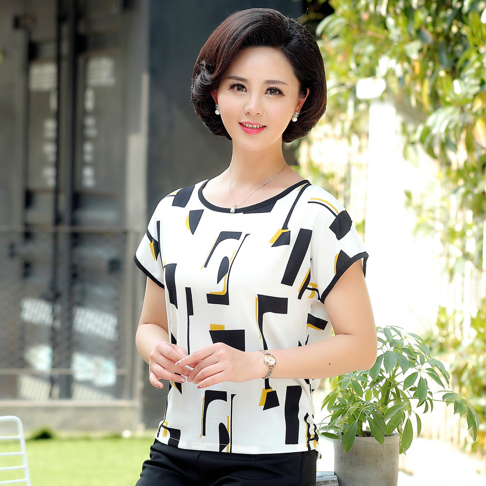 Women Summer Blouses Short Drop Sleeve Round Collar Tops Female White Navy Blue Floral Print Tunic Shirt Woman Casual Blouse 5XL