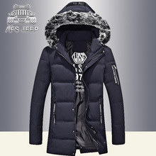 Afs Jeep Design 2017 New Long Winter Down Jacket With Fur Hood Men's Clothing Casual Jackets Thickening Parkas Male Big Coat
