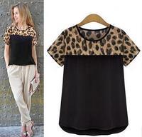 الفهد خليط المرأة قصيرة الأكمام قميص شيفون 2017 الصيف مثير س الرقبة عارضة بلوزة قمم السيدات ضئيلة قميص زائد حجم
