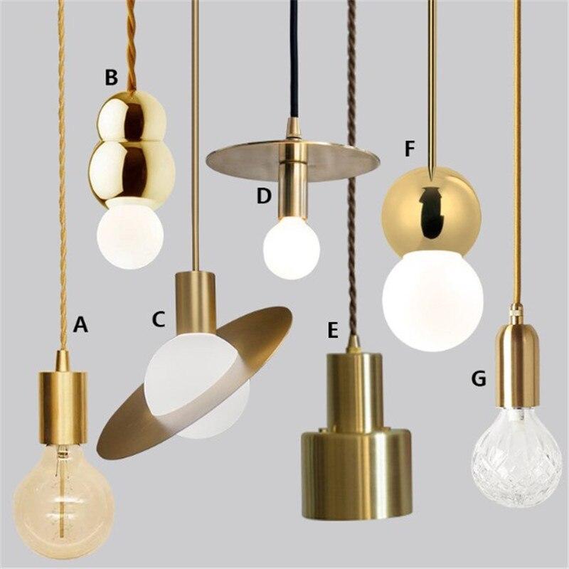 LOFT creative brass pendant light E27 lamp fixture retro industrial style bar restaurant kitchen bar bedroom bedside lamp