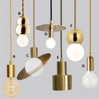 LOFT Creative Brass Pendant Light E27 Lamp Fixture Retro Industrial Style Bar Restaurant Kitchen Bar