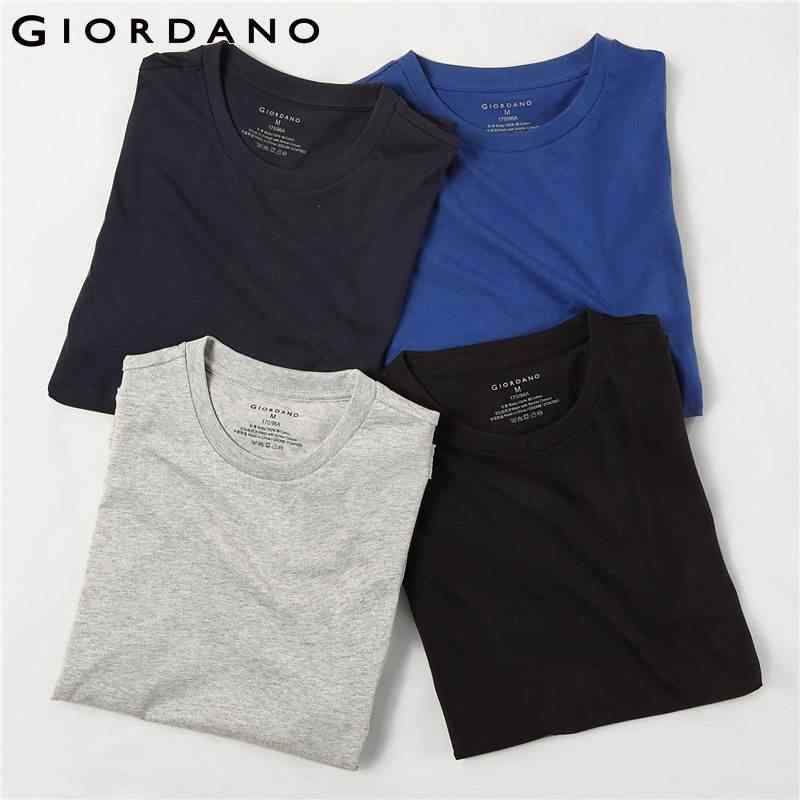 buy online 18e1a a2174 Giordano Men T-shirts Classic Solid Undershirt Basic Tshirts Male Short  Sleeve Crewneck Tops Uomo Camisetas(4-pack)