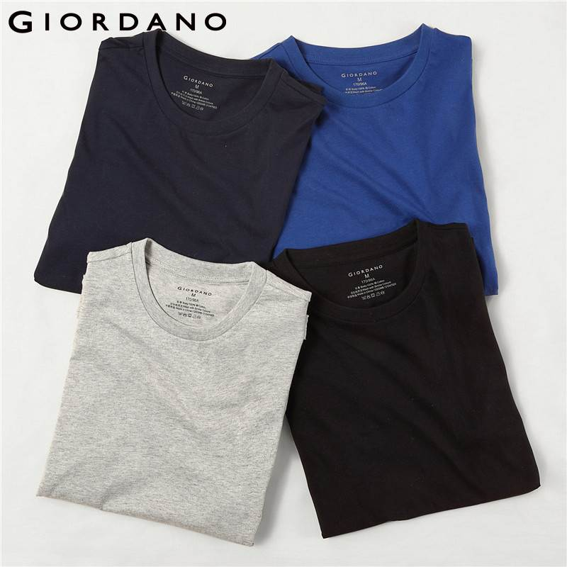 Giordano Men   T  -  shirts   Classic Solid Undershirt Basic Tshirts Male Short Sleeve Crewneck Tops Uomo Camisetas(4-pack)