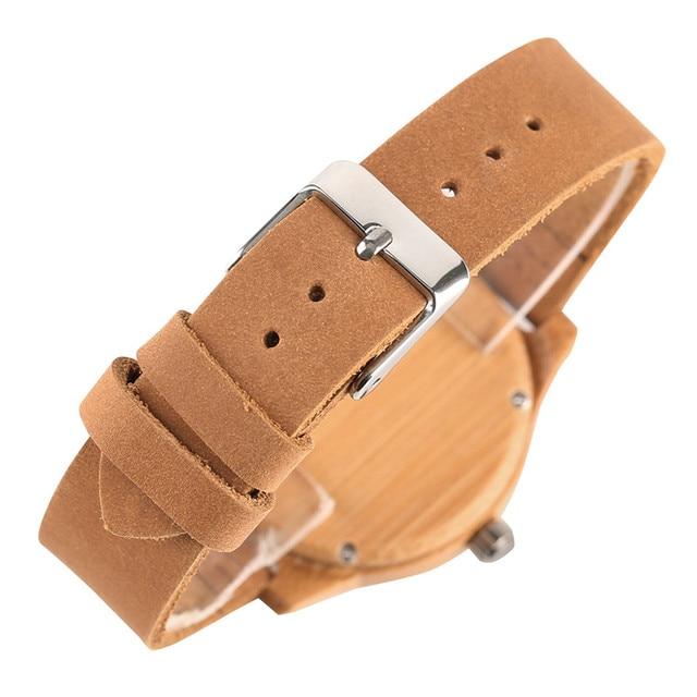 Reloj de madera bambú para mujer combinación metal 2