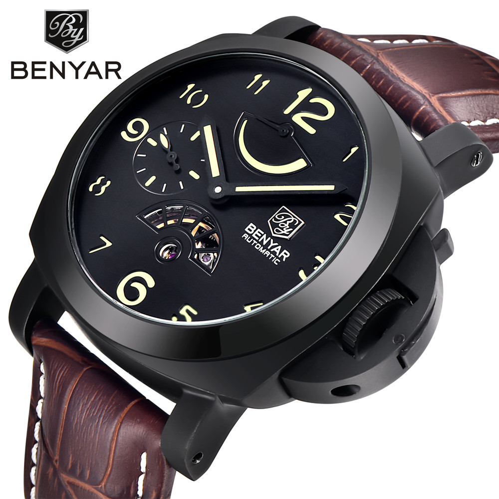 Top Brand Luxury Men s Sports Watch Auto Mechanical Leather Watch Stainless Steel Case Auto date