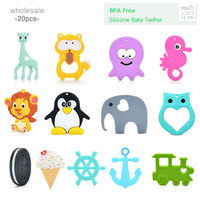20pcs/lot Silicone Teether Giraffe Teething Pendant Biscuit Baby Teether Penguin Silicone Teething Necklace Chew Toys For Baby