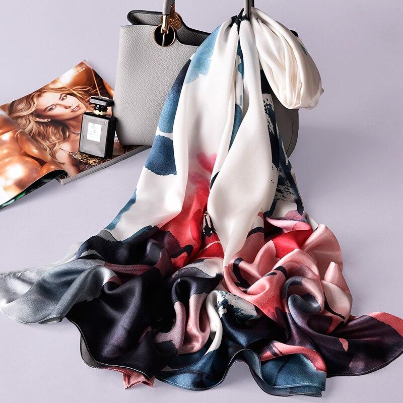 Damen 100% Reiner Seide Schal Luxus Marke 2019 Hangzhou Seide Schals und Wraps für Frauen Doppel schicht Natürliche Echt seide Schals - 3
