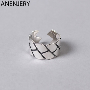 ANENJERY Vintage 925 Sterling Silver Ring Novelty Geometric Width Thai Silver Adjustable Rings For Women Men S-R410(China)